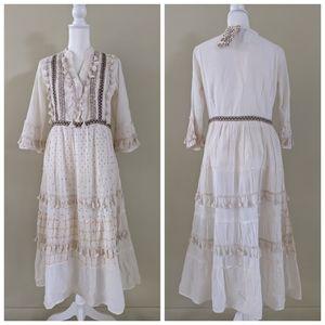 Boho style maxi dress with fringe